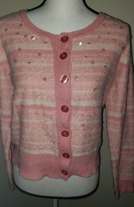 Pink Sequin Cardigan Sweater Large